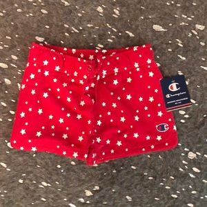 Red with white stars shorts Champion brand